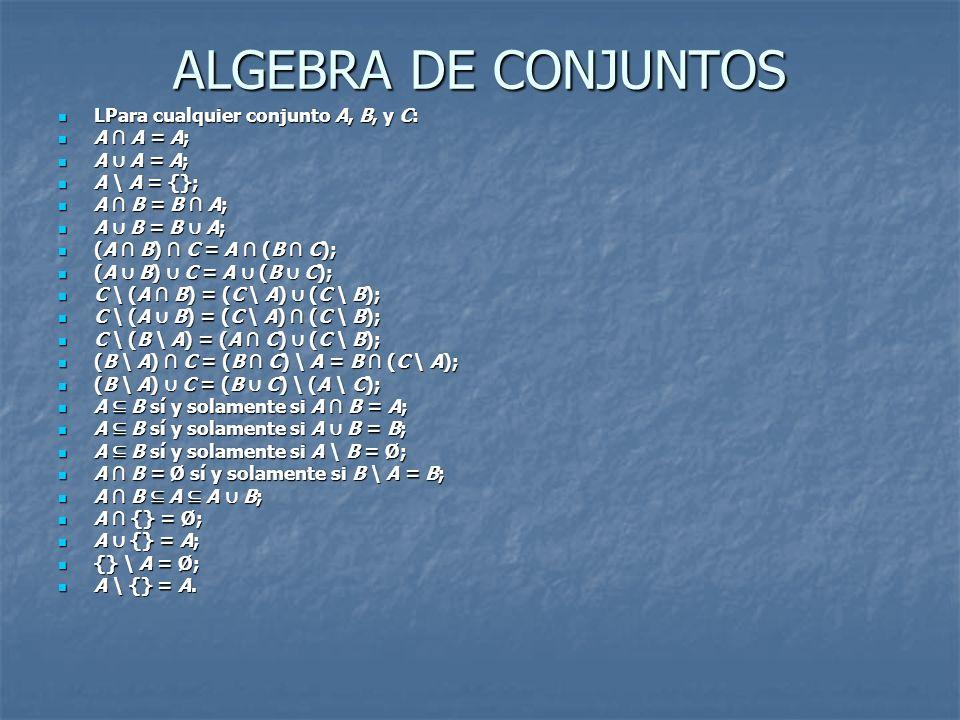 ALGEBRA DE CONJUNTOS LPara cualquier conjunto A, B, y C: A ∩ A = A;