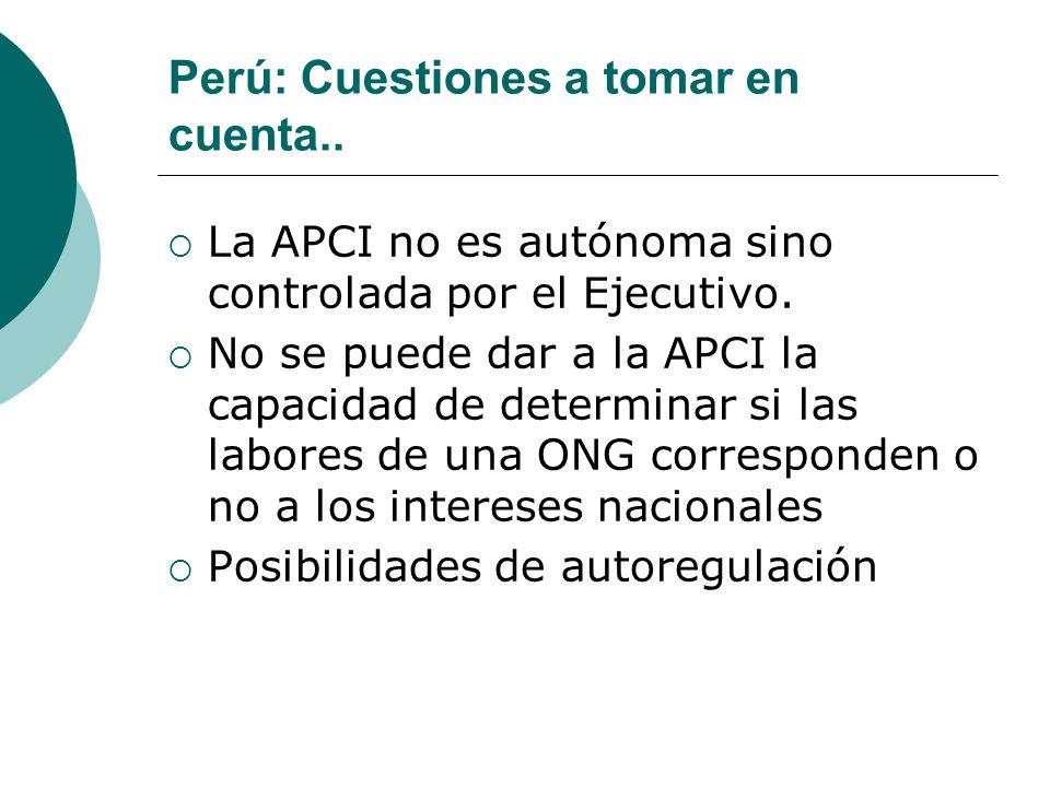 Perú: Cuestiones a tomar en cuenta..