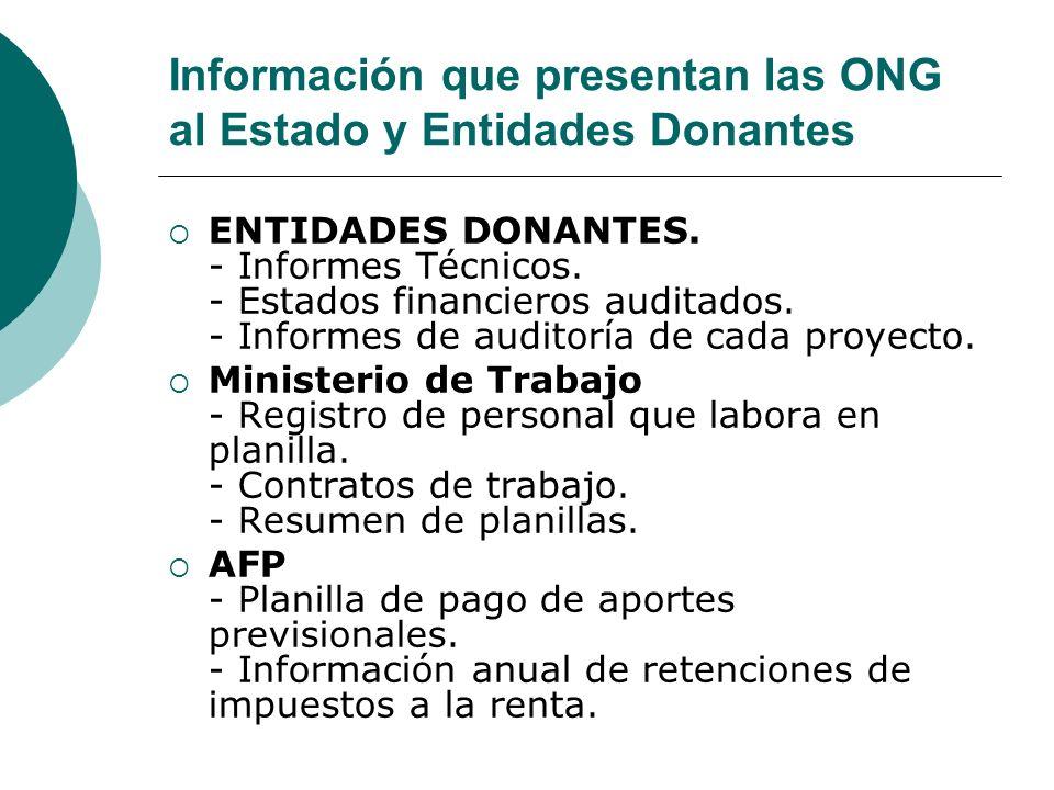 Información que presentan las ONG al Estado y Entidades Donantes