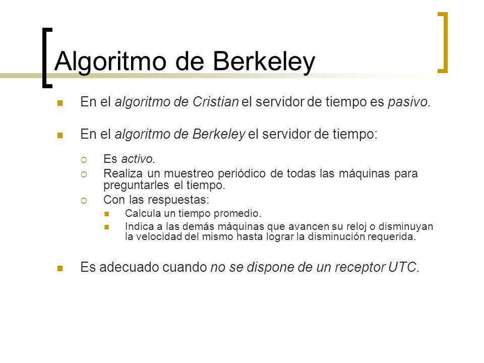 Algoritmo de Berkeley En el algoritmo de Cristian el servidor de tiempo es pasivo. En el algoritmo de Berkeley el servidor de tiempo: