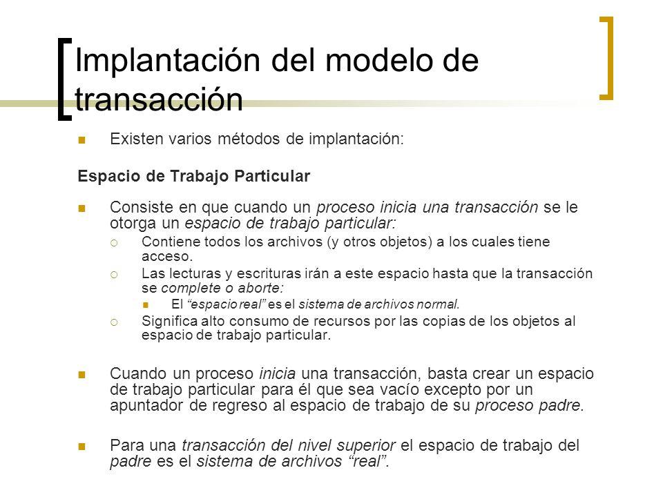 Implantación del modelo de transacción