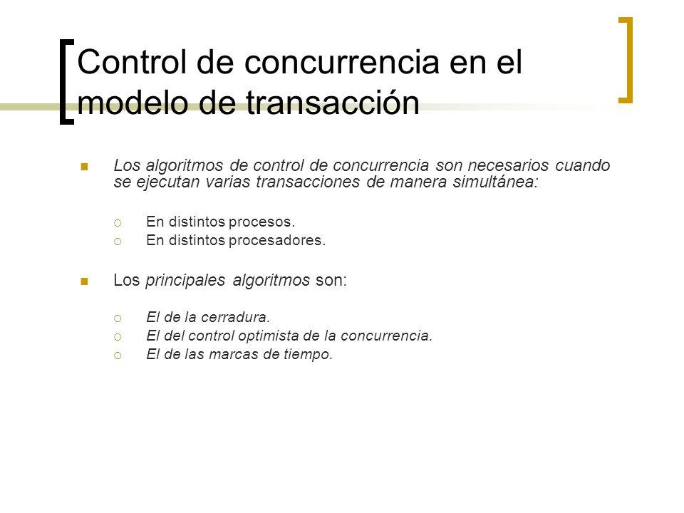 Control de concurrencia en el modelo de transacción