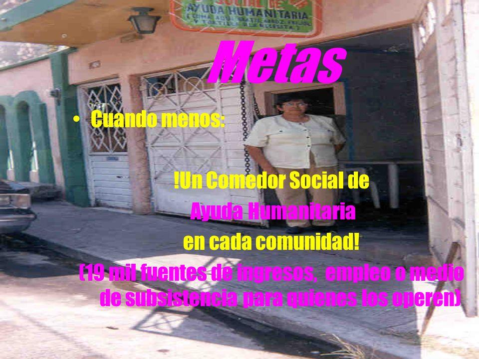 Metas Cuando menos: !Un Comedor Social de Ayuda Humanitaria