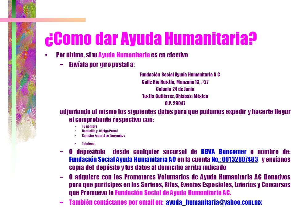 ¿Como dar Ayuda Humanitaria
