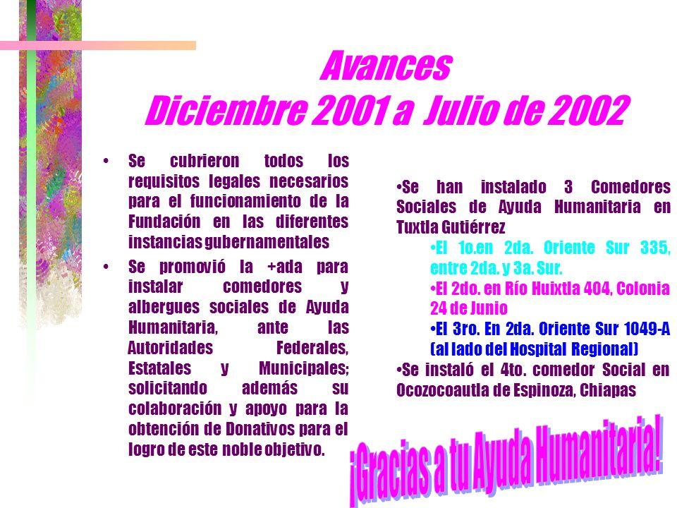 Avances Diciembre 2001 a Julio de 2002