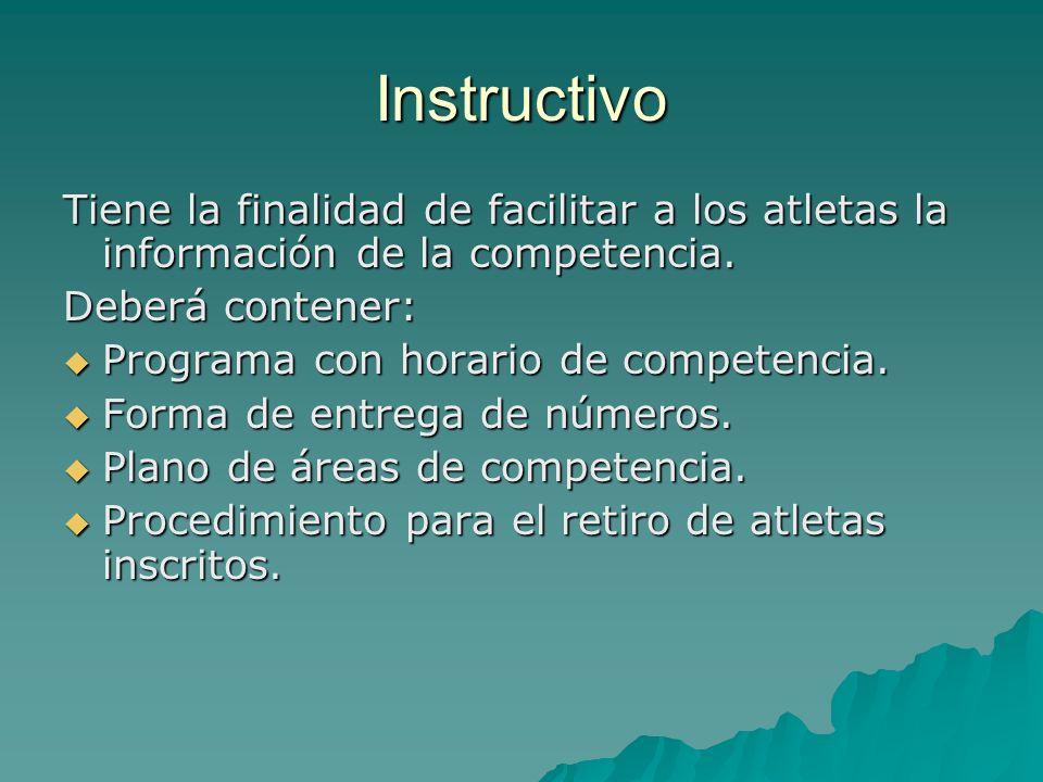 Instructivo Tiene la finalidad de facilitar a los atletas la información de la competencia. Deberá contener:
