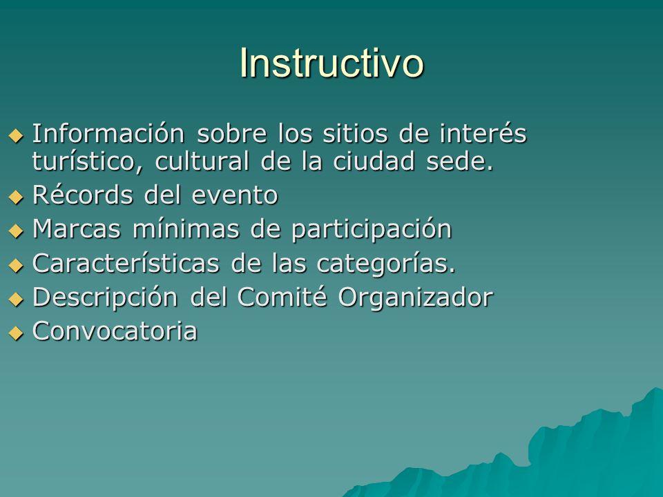 InstructivoInformación sobre los sitios de interés turístico, cultural de la ciudad sede. Récords del evento.