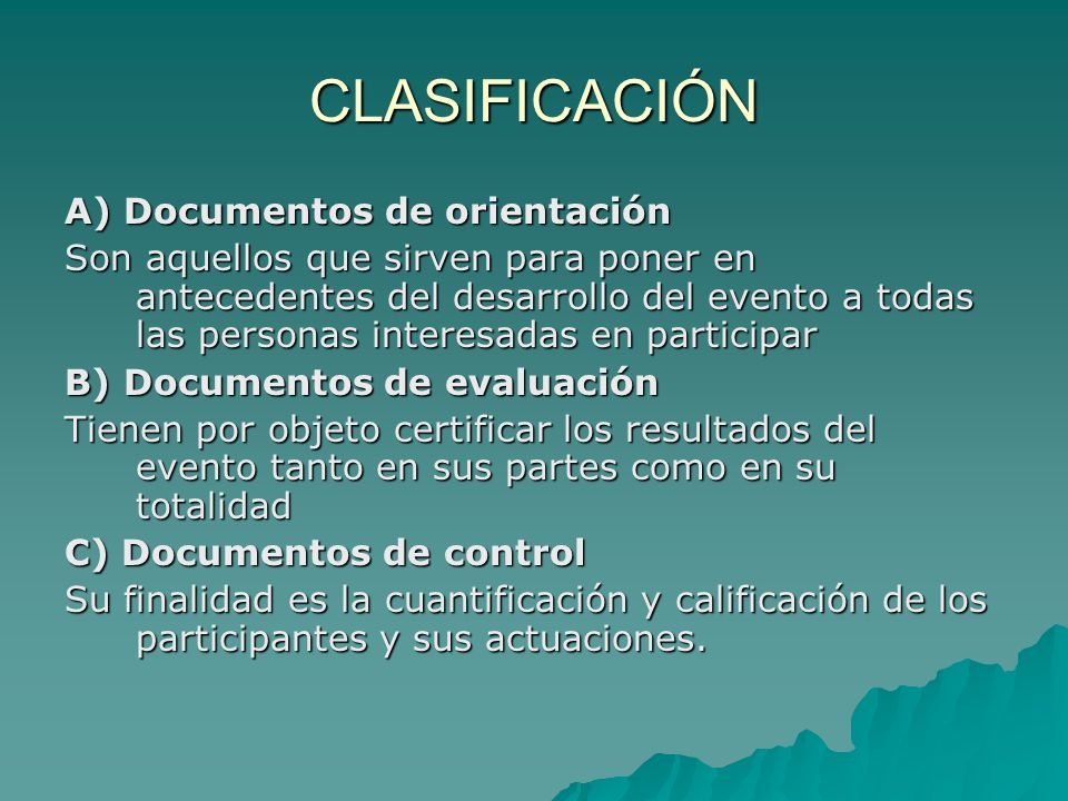 CLASIFICACIÓN A) Documentos de orientación