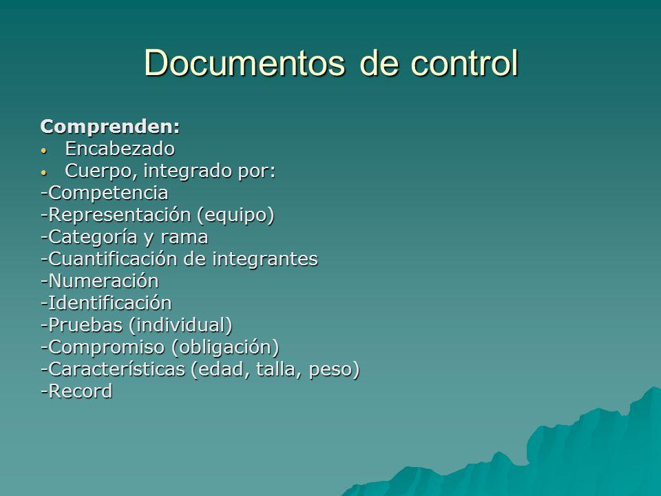 Documentos de control Comprenden: Encabezado Cuerpo, integrado por: