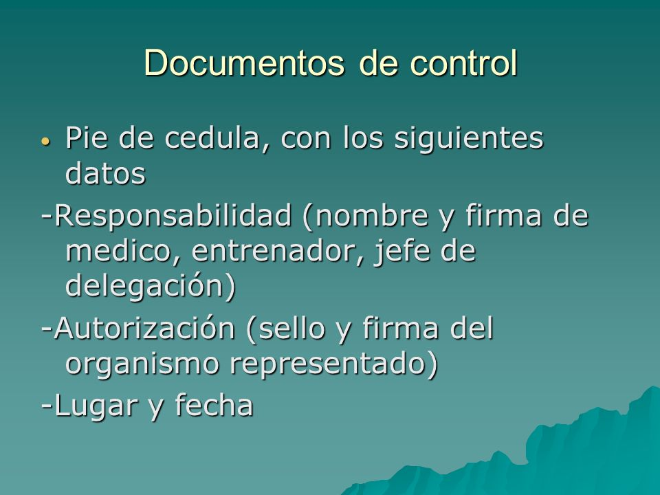 Documentos de control Pie de cedula, con los siguientes datos