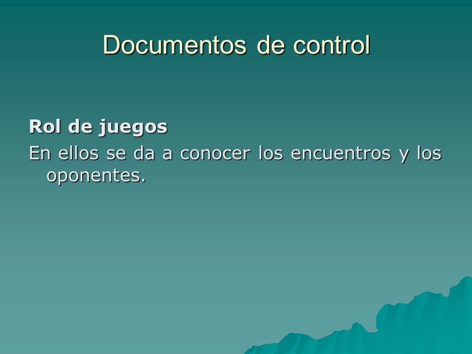 Documentos de control Rol de juegos