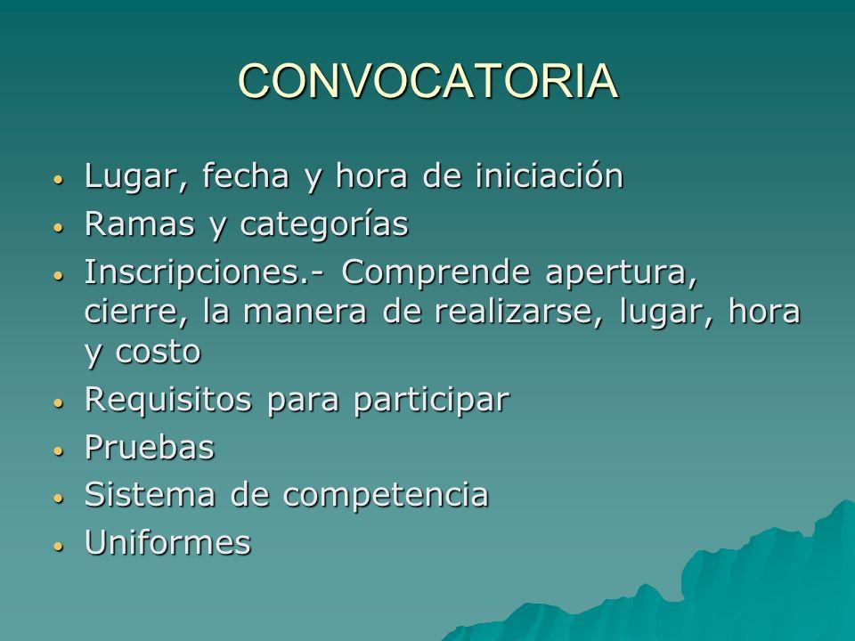CONVOCATORIA Lugar, fecha y hora de iniciación Ramas y categorías