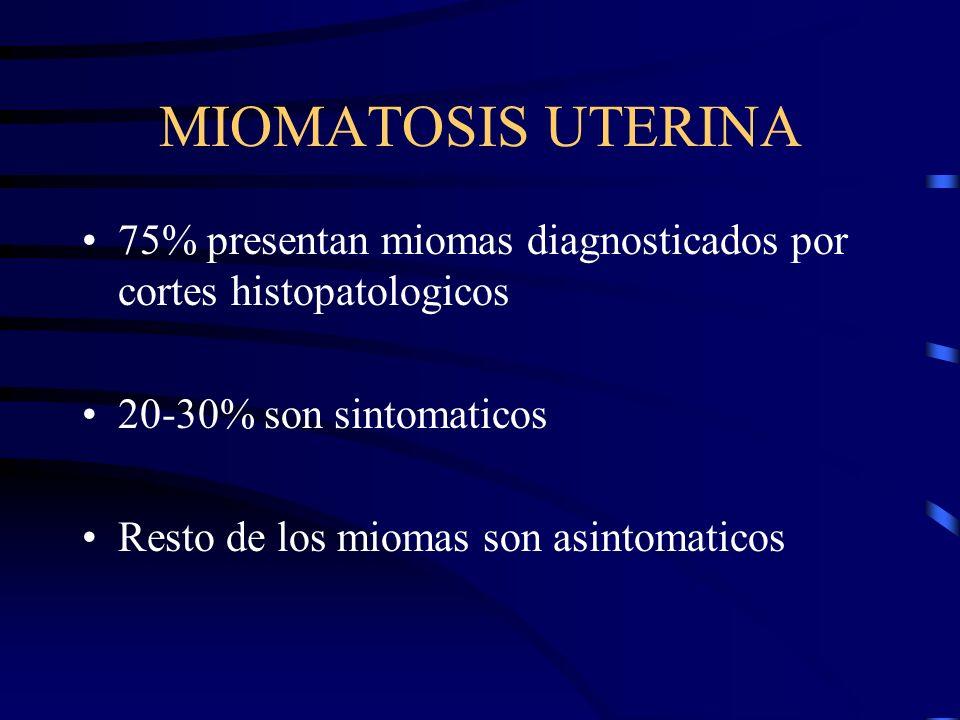 MIOMATOSIS UTERINA 75% presentan miomas diagnosticados por cortes histopatologicos. 20-30% son sintomaticos.
