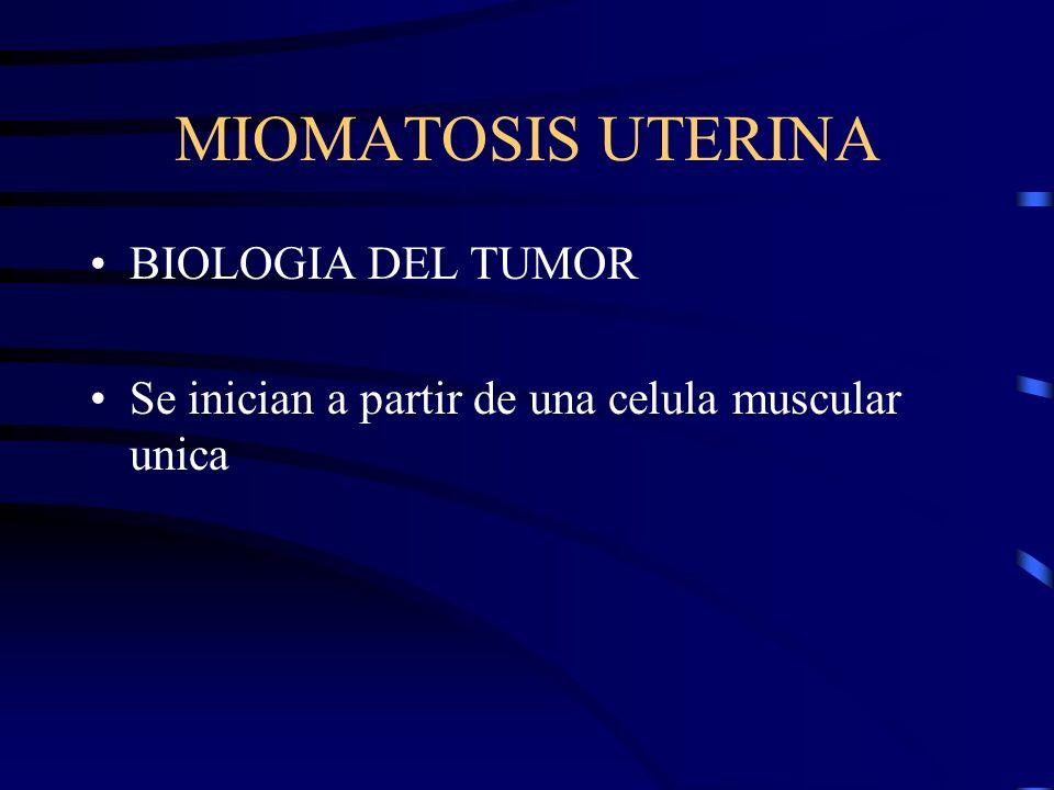 MIOMATOSIS UTERINA BIOLOGIA DEL TUMOR