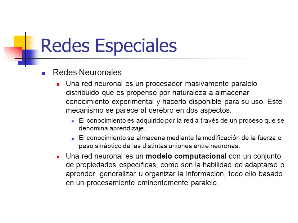 Redes Especiales Redes Neuronales