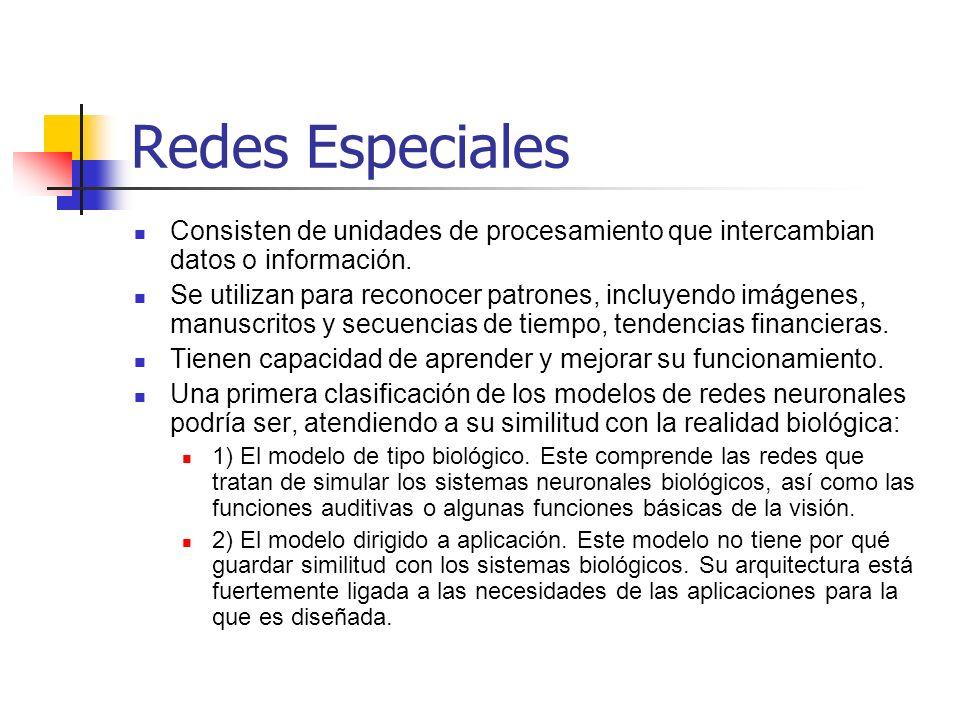 Redes EspecialesConsisten de unidades de procesamiento que intercambian datos o información.
