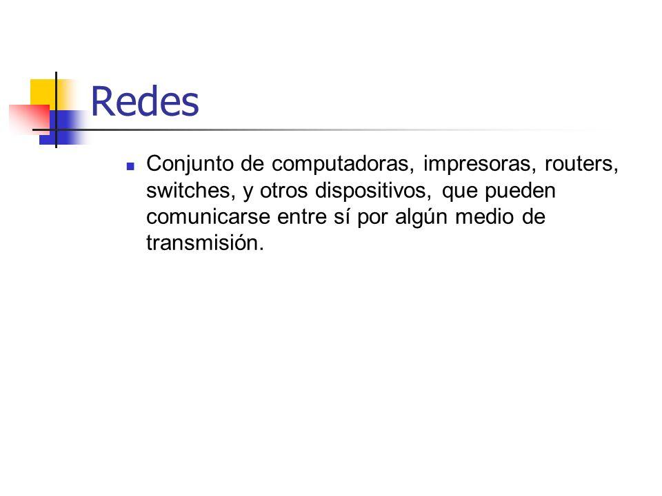 Redes Conjunto de computadoras, impresoras, routers, switches, y otros dispositivos, que pueden comunicarse entre sí por algún medio de transmisión.