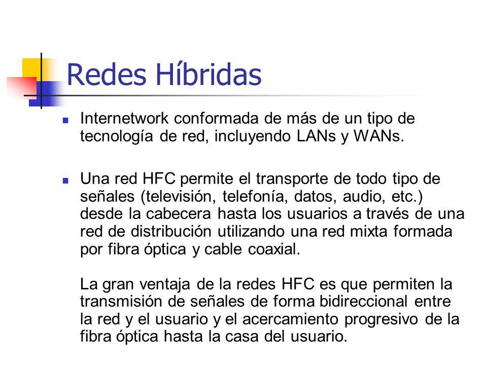 Redes HíbridasInternetwork conformada de más de un tipo de tecnología de red, incluyendo LANs y WANs.