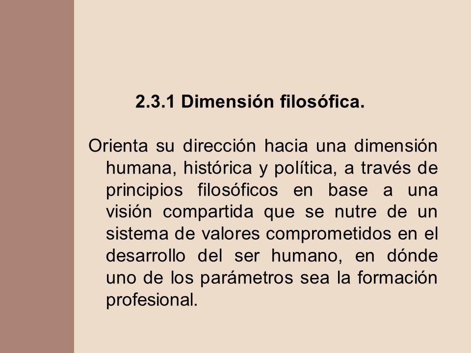 2.3.1 Dimensión filosófica.