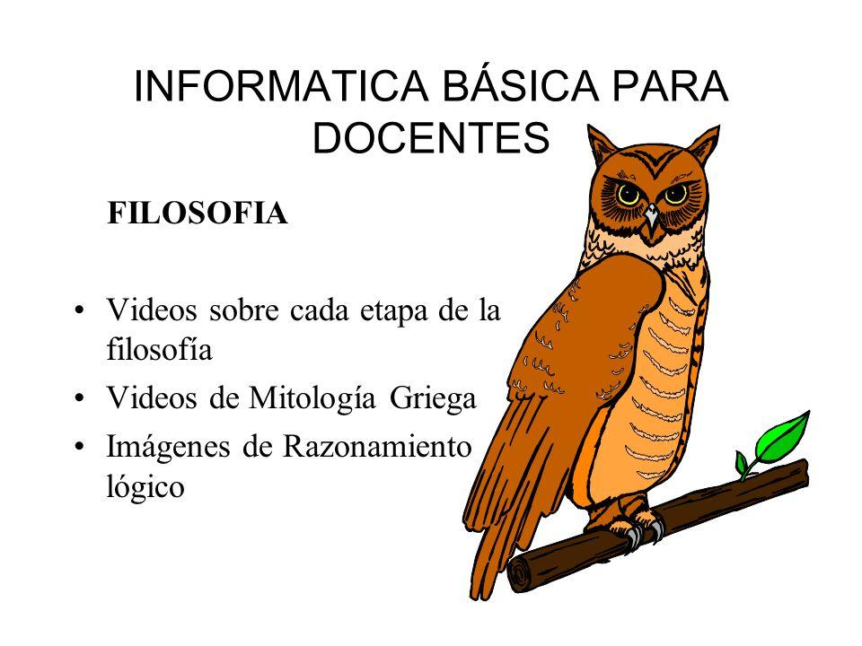 INFORMATICA BÁSICA PARA DOCENTES