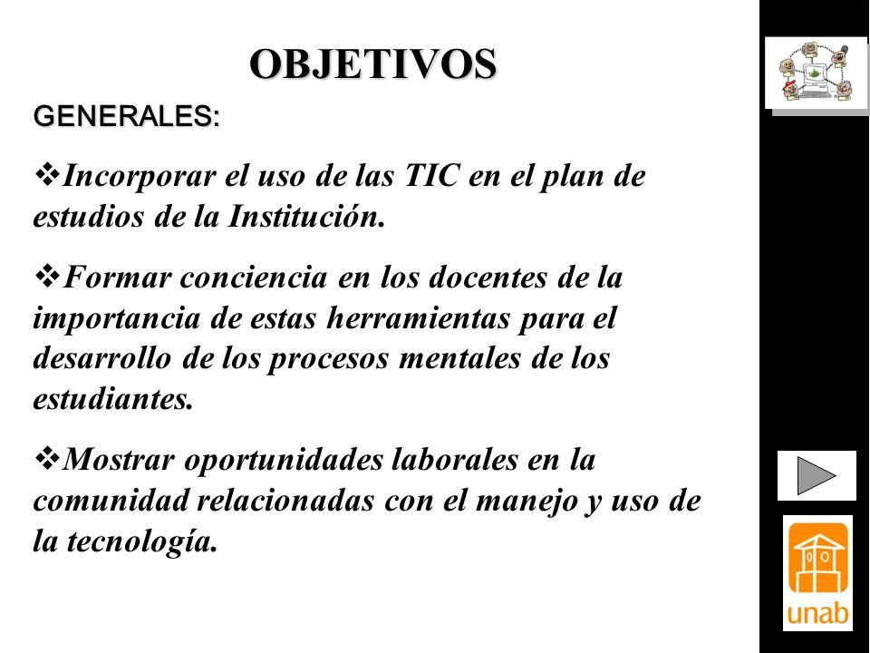 OBJETIVOS GENERALES: Incorporar el uso de las TIC en el plan de estudios de la Institución.