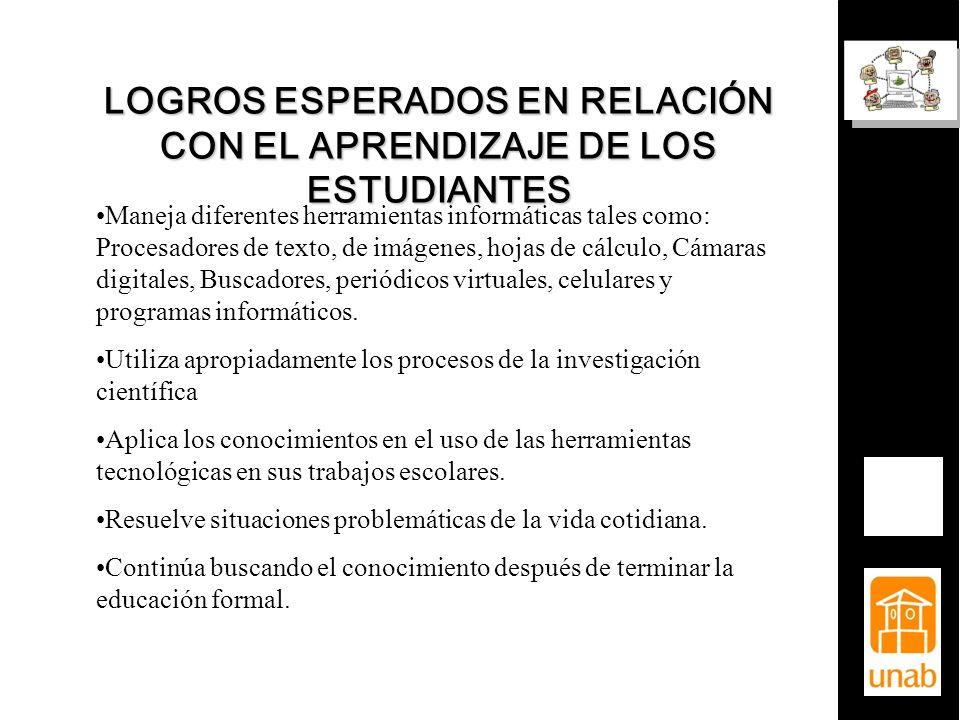 LOGROS ESPERADOS EN RELACIÓN CON EL APRENDIZAJE DE LOS ESTUDIANTES