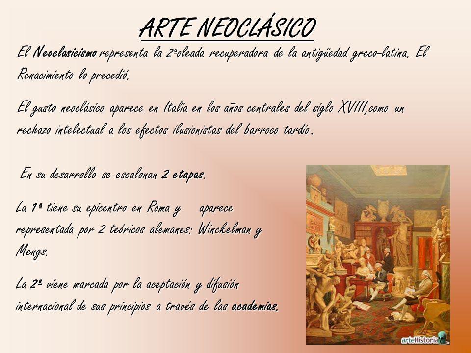 ARTE NEOCLÁSICO El Neoclasicismo representa la 2ªoleada recuperadora de la antigüedad greco-latina. El Renacimiento lo precedió.