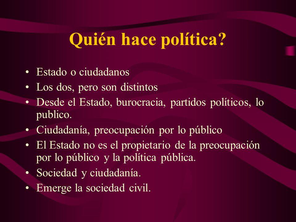 Quién hace política Estado o ciudadanos Los dos, pero son distintos
