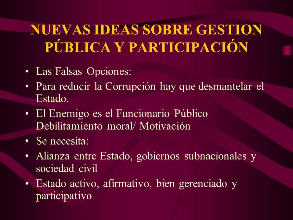 NUEVAS IDEAS SOBRE GESTION PÚBLICA Y PARTICIPACIÓN