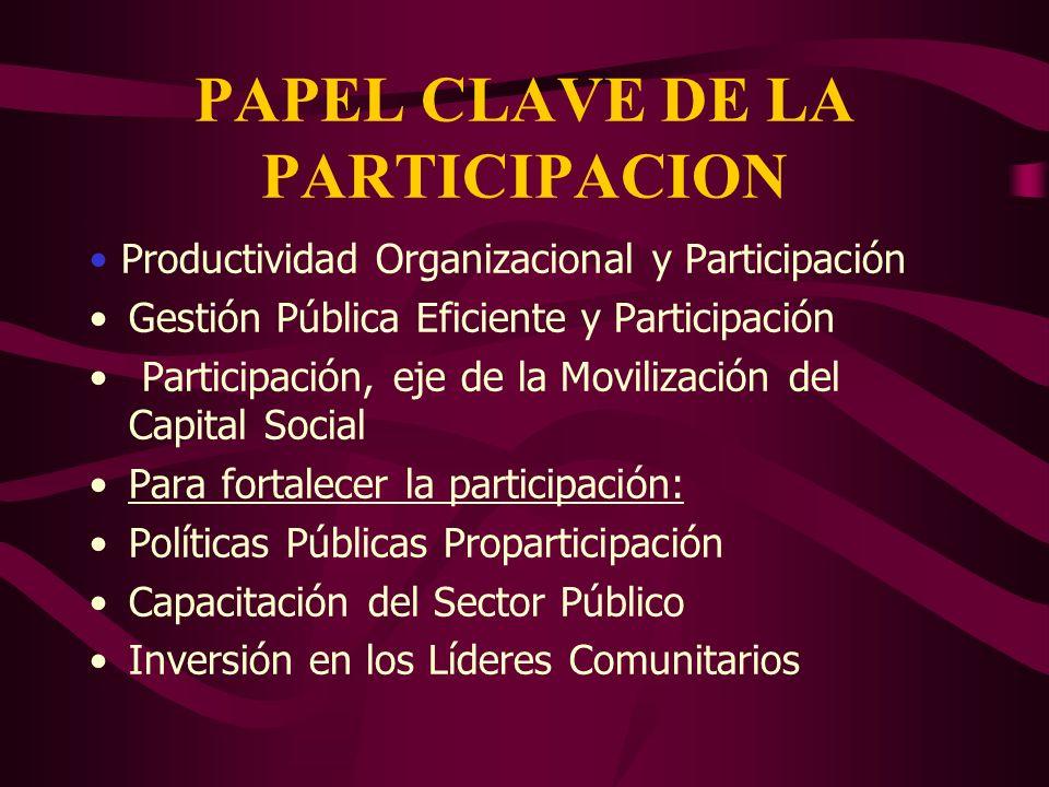 PAPEL CLAVE DE LA PARTICIPACION