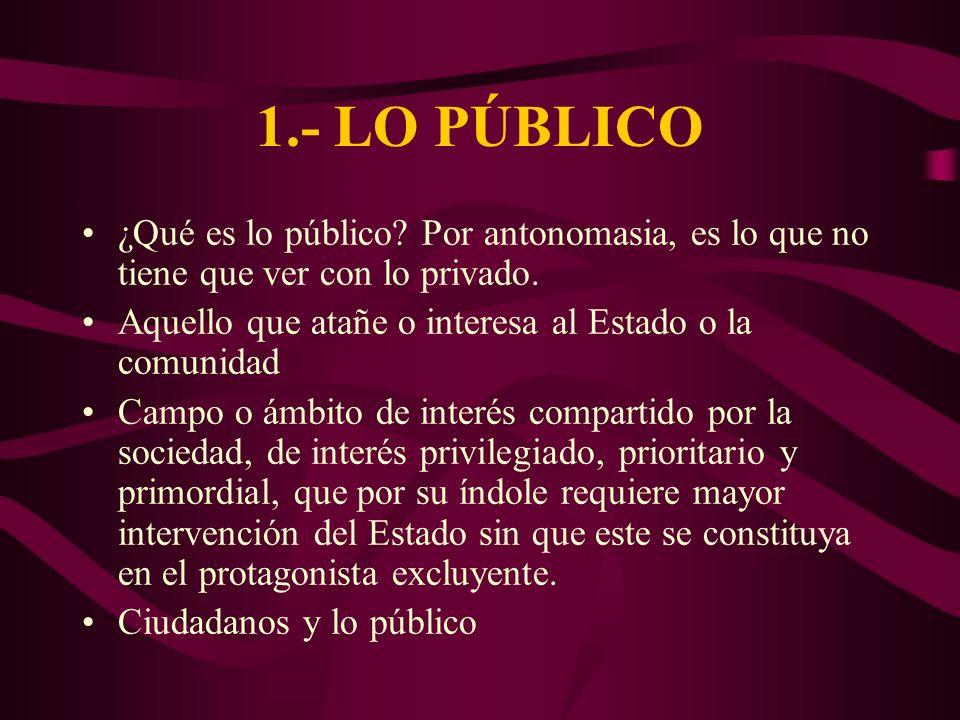 1.- LO PÚBLICO ¿Qué es lo público Por antonomasia, es lo que no tiene que ver con lo privado. Aquello que atañe o interesa al Estado o la comunidad.