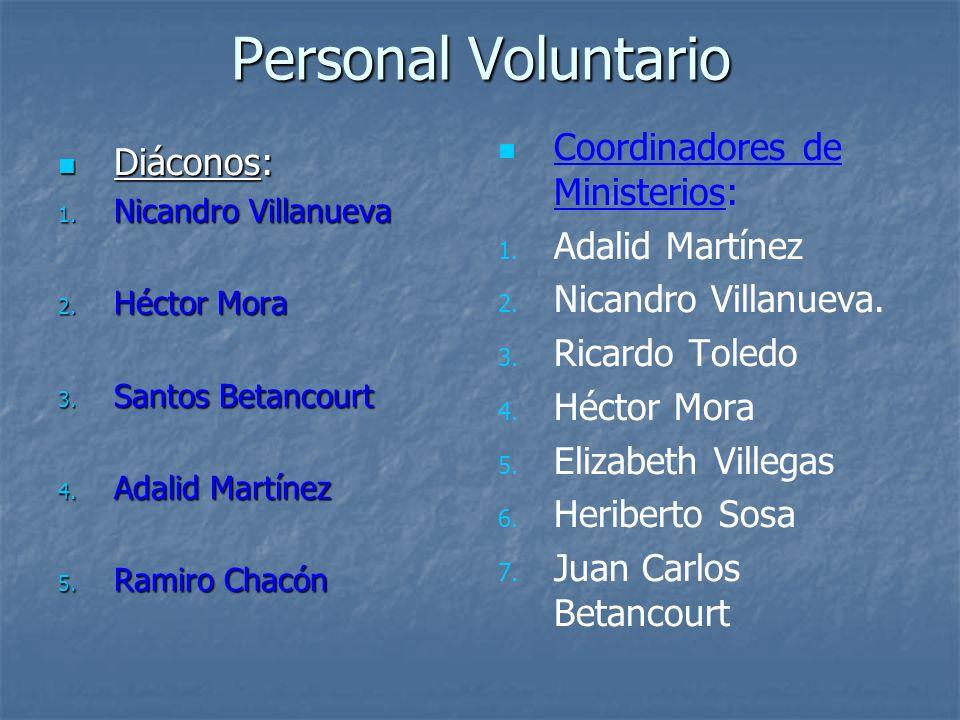 Personal Voluntario Coordinadores de Ministerios: Diáconos: