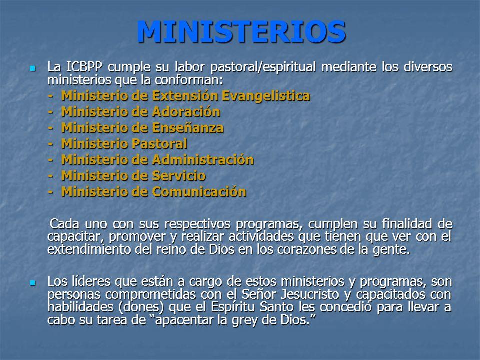 MINISTERIOSLa ICBPP cumple su labor pastoral/espiritual mediante los diversos ministerios que la conforman: