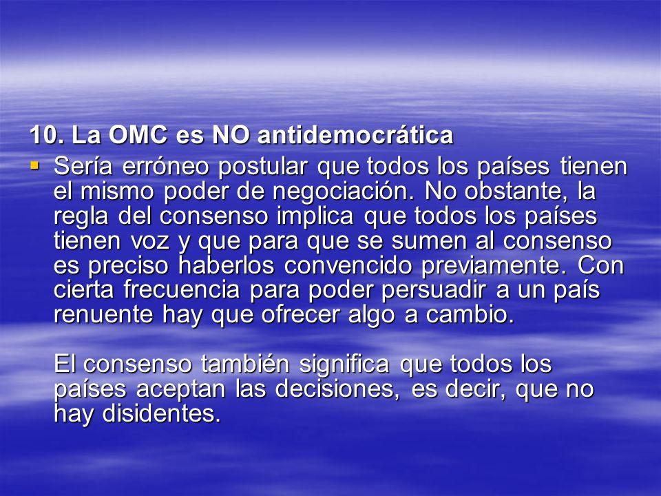 10. La OMC es NO antidemocrática