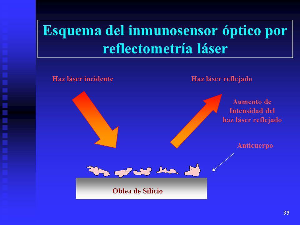 Esquema del inmunosensor óptico por reflectometría láser