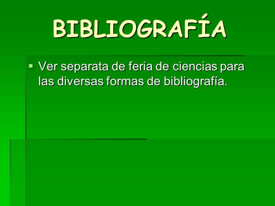 BIBLIOGRAFÍA Ver separata de feria de ciencias para las diversas formas de bibliografía.