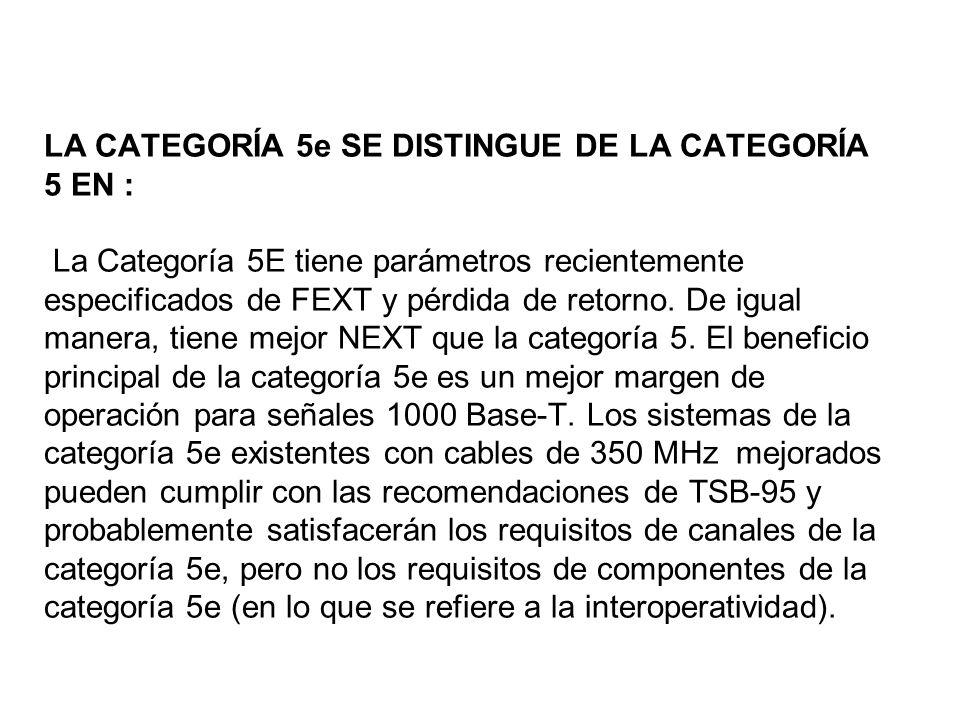 LA CATEGORÍA 5e SE DISTINGUE DE LA CATEGORÍA 5 EN : La Categoría 5E tiene parámetros recientemente especificados de FEXT y pérdida de retorno.