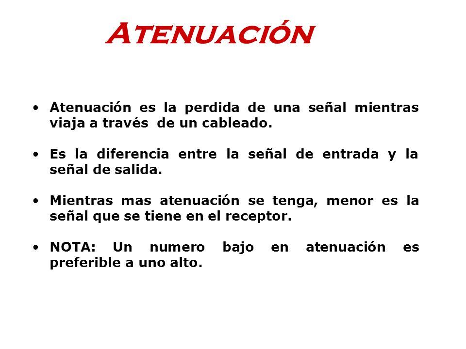 Atenuación Atenuación es la perdida de una señal mientras viaja a través de un cableado.