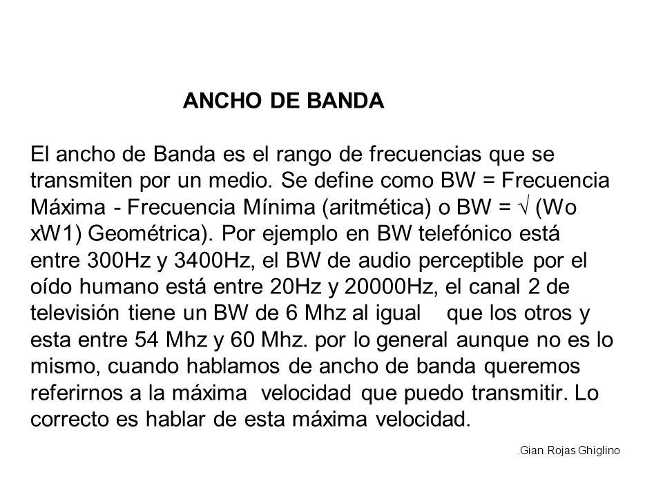 ANCHO DE BANDA El ancho de Banda es el rango de frecuencias que se transmiten por un medio. Se define como BW = Frecuencia Máxima - Frecuencia Mínima (aritmética) o BW = √ (Wo xW1) Geométrica). Por ejemplo en BW telefónico está entre 300Hz y 3400Hz, el BW de audio perceptible por el oído humano está entre 20Hz y 20000Hz, el canal 2 de televisión tiene un BW de 6 Mhz al igual que los otros y esta entre 54 Mhz y 60 Mhz. por lo general aunque no es lo mismo, cuando hablamos de ancho de banda queremos referirnos a la máxima velocidad que puedo transmitir. Lo correcto es hablar de esta máxima velocidad.