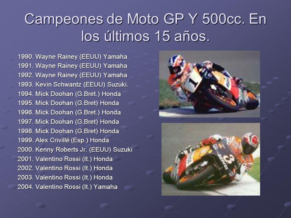 Campeones de Moto GP Y 500cc. En los últimos 15 años.