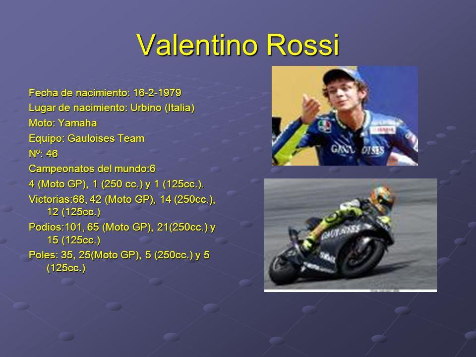 Valentino Rossi Fecha de nacimiento: 16-2-1979