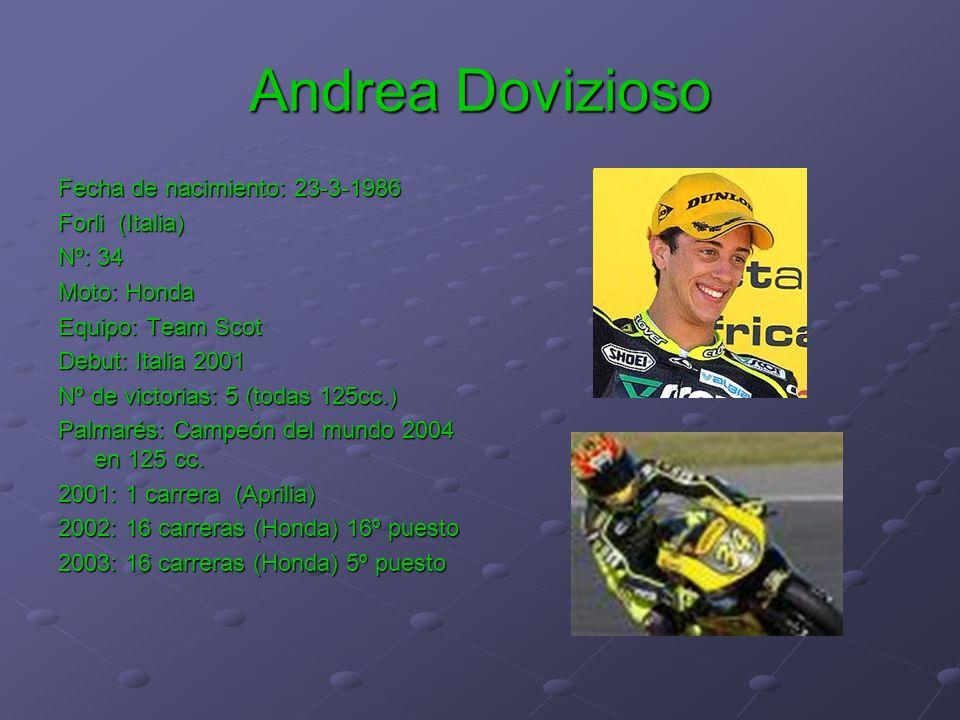 Andrea Dovizioso Fecha de nacimiento: 23-3-1986 Forli (Italia) Nº: 34