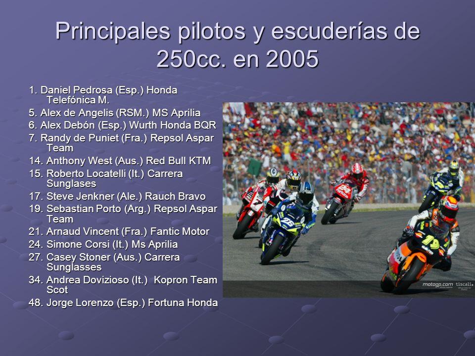 Principales pilotos y escuderías de 250cc. en 2005