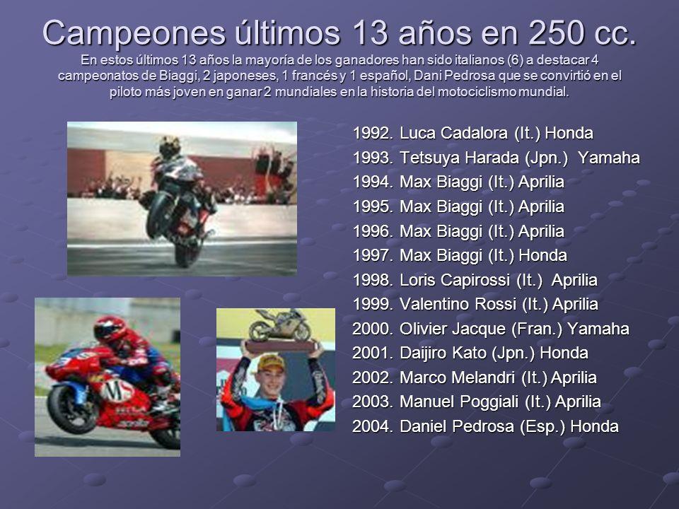 Campeones últimos 13 años en 250 cc
