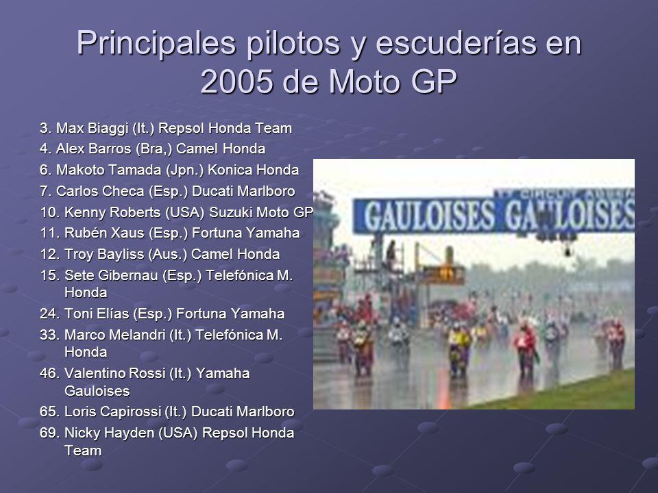 Principales pilotos y escuderías en 2005 de Moto GP