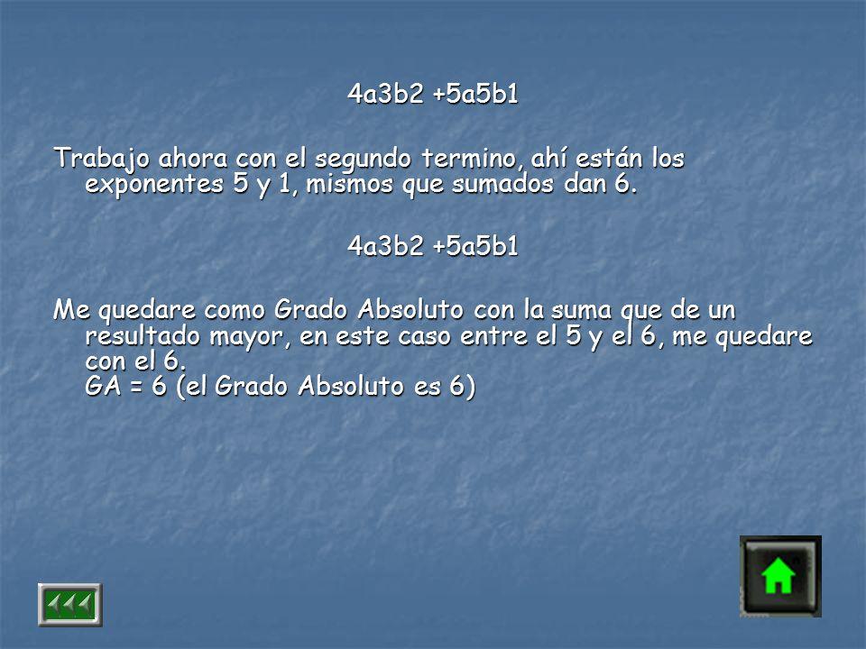 4a3b2 +5a5b1 Trabajo ahora con el segundo termino, ahí están los exponentes 5 y 1, mismos que sumados dan 6.