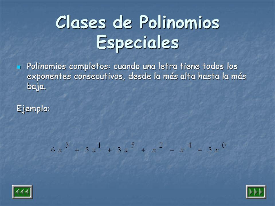 Clases de Polinomios Especiales