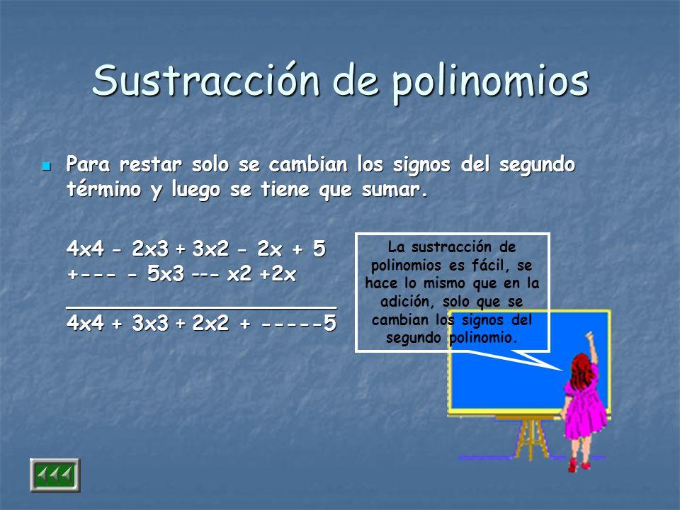 Sustracción de polinomios