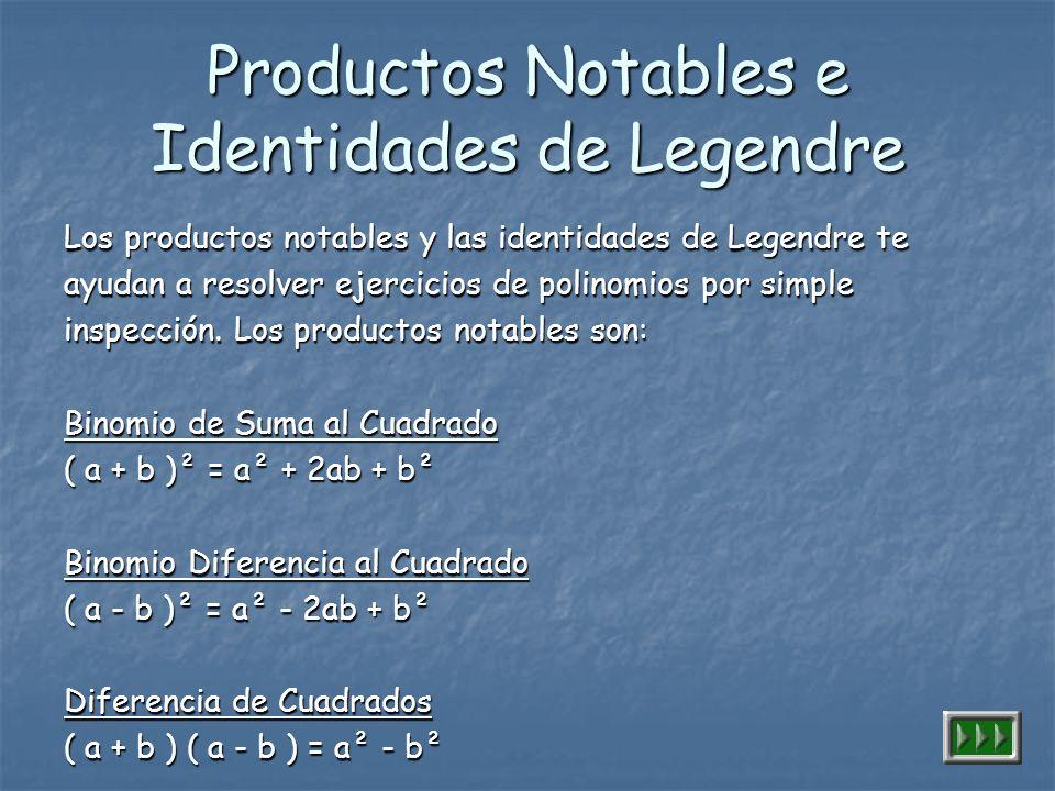 Productos Notables e Identidades de Legendre