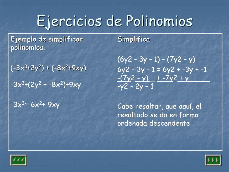 Ejercicios de Polinomios
